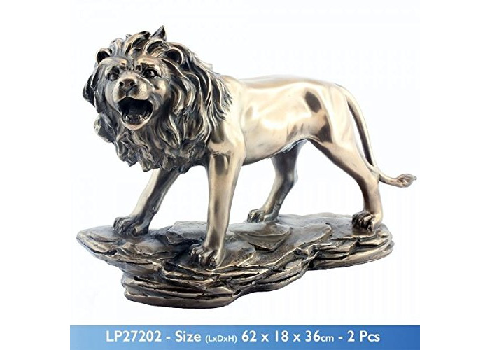 BRONZED CERAMIC ROARING LION SCULPTURE DECORATION FIGURE ORNAMENT - 1