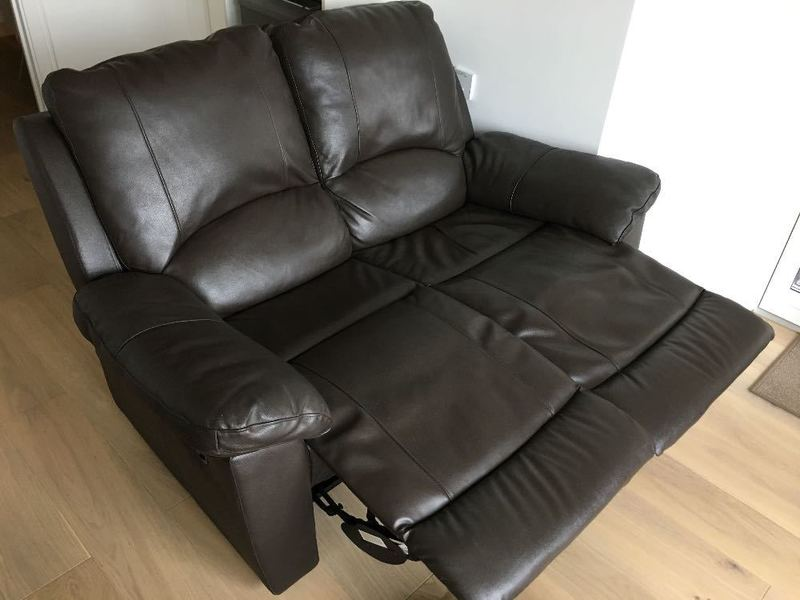 Rent Brown Leather 2 Seater Recliner Sofa in London