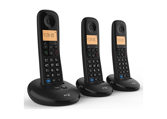 BT Everyday Cordless Home Phone with Basic Call Blocking and Answering Machine, Trio Handset Pack - 1