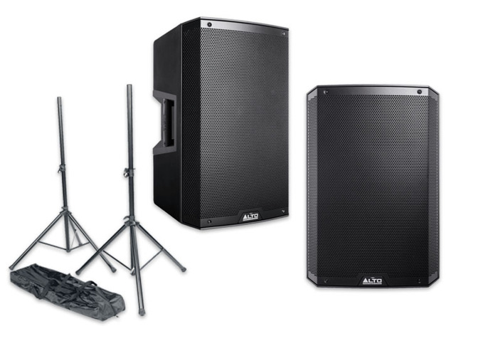 *BUNDLE* PA Active Speaker System x2 Top, x2 Sub, Stands etc - 2