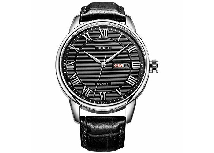 BUREI Mens Watches Business Day and Date Black Watch with Calfskin Leather Strap - 1