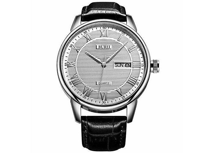 BUREI Mens Watches Business Day and Date Black Watch with Calfskin Leather Strap - 2