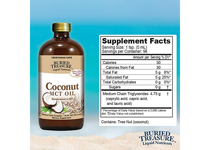 Buried Treasure MCT Coconut Oil Pure for Brain and Metabolic Boost16 oz BPA Free Bottle - 2