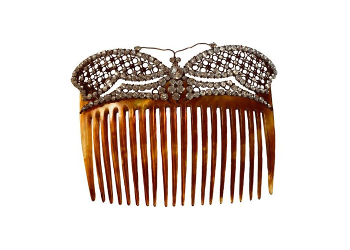 Butterfly Clear & Pink Tortoiseshell Hair Comb Free UK Del - 1