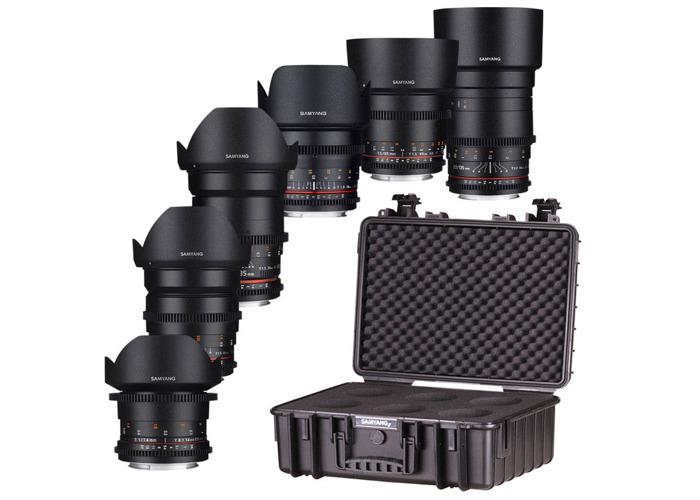 Rent Samyang VDSLR 6 x Cine Prime Lens Kit Canon EF 14mm 24mm 35mm 50mm  85mm 135mm C100 C200 C300 Panasonic GH5/S/BMPCC 4K Sony A7/S/R I/II/III in