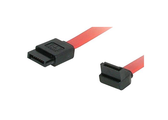 C2G 0.5M Serial ATA SATA Right Angle Cable. Straight 7 Pin Male SATA to 90 Degree 7 Pin Male SATA Cable - 1