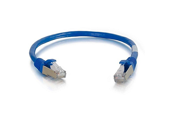 C2G 2M Blue CAT6A Ethernet Gigabit Lan Network Cable (RJ45) Nickel plated and Copper Braided Patch UTP Cable - 2