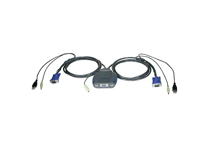 C2G TrueLink Series 2-Port VGA, USB Micro KVM with Audio Complete Compact Multi CPU Solution - All Cables Included - 2