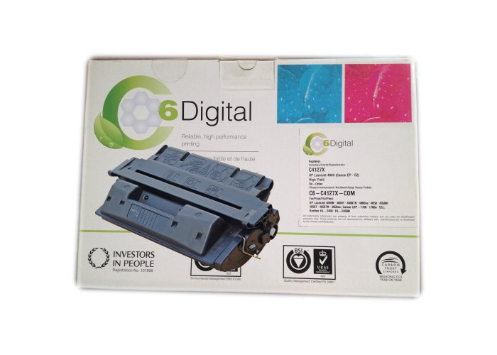 C6 Digital Laser Toner Cartridge Compatible with HP 4000 Black, 10k Copy Capacity - Equivalent to C4127X - 1