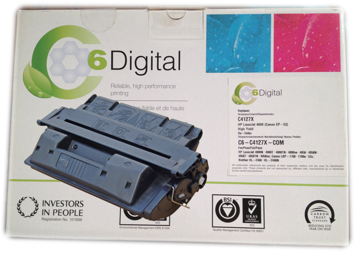 C6 Digital Laser Toner Cartridge Compatible with HP 4000 Black, 10k Copy Capacity - Equivalent to C4127X - 2