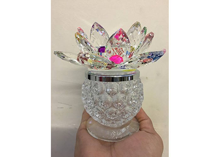 CANDLE TEA LIGHT HOLDER LOTUS FLOWER PINEAPPLE SHAPE LARGE BIG CRYSTAL ORNAMENT WITH GIFT BOX CRYSTOCRAFT VARIOUS COLOURS - LOTUS (Green) - 1