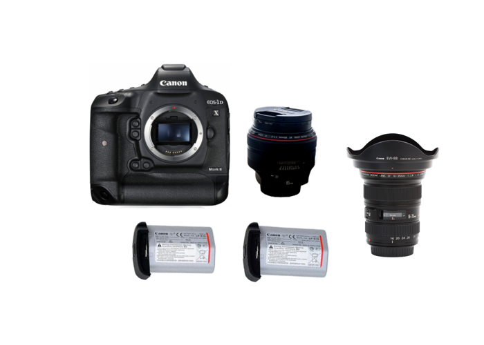 Canon 1DX Mark II + 2 batteries + Any Prime/Zoom lens  - 1