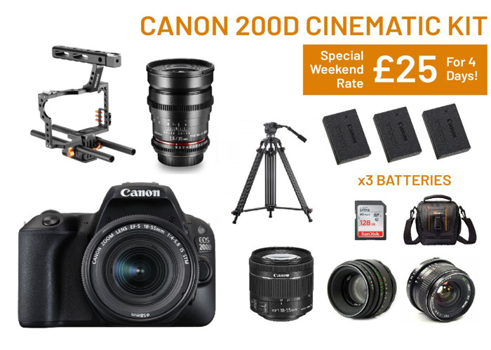Canon 200d Cinematic Filming Kit | Lenses, Cage, - 1