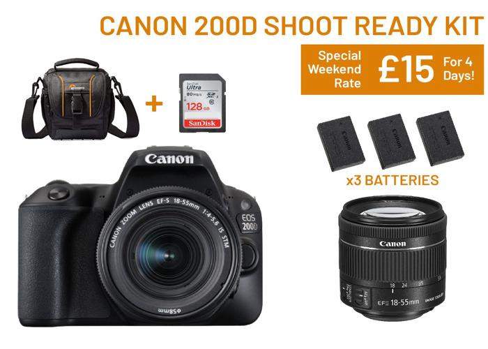 Canon 200d Shoot Ready Kit   SD Card, Batteries, Lens, Bag - 1