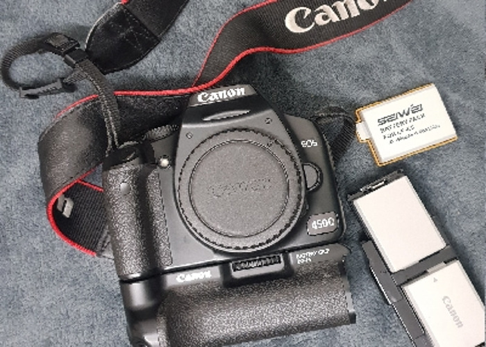 Rent Canon 450d with Battery Grip BG-E5 and 3xbatt + 50mm lens in Sutton