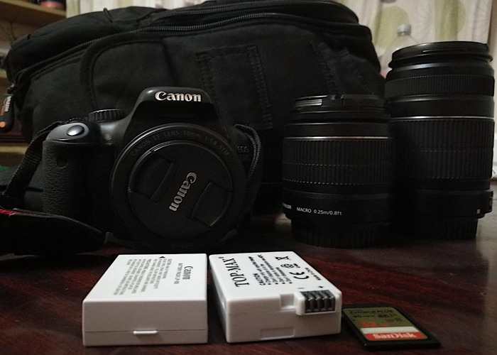 Canon 550D camera with 3 Lens, 2 batteries, 1 SD Card, Bag  - 1