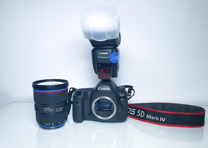 Canon 5D mark 4 + Canon 24 - 70 mm 2.8/f + Canon Flash light - 1