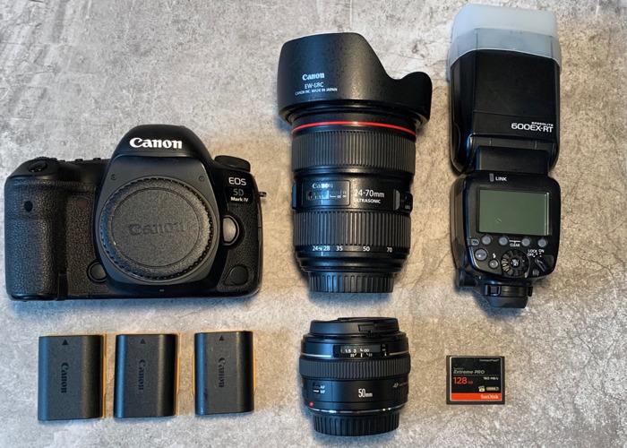 Canon 5D Mark 4  IV C-Log Camera Body  50mm 1.4 24-70mm 2.8 Flash - 1
