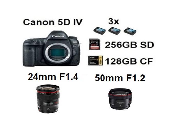 Canon 5d Mark 4 IV + 24mm F1.4, 50mm F1.2 Lens - 1