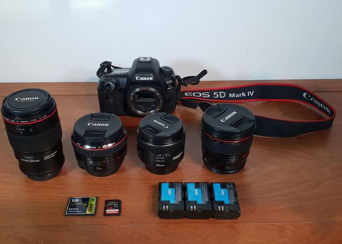Canon 5d Mark IV + 24mm, 35mm, 50mm, 100mm Lens - 1