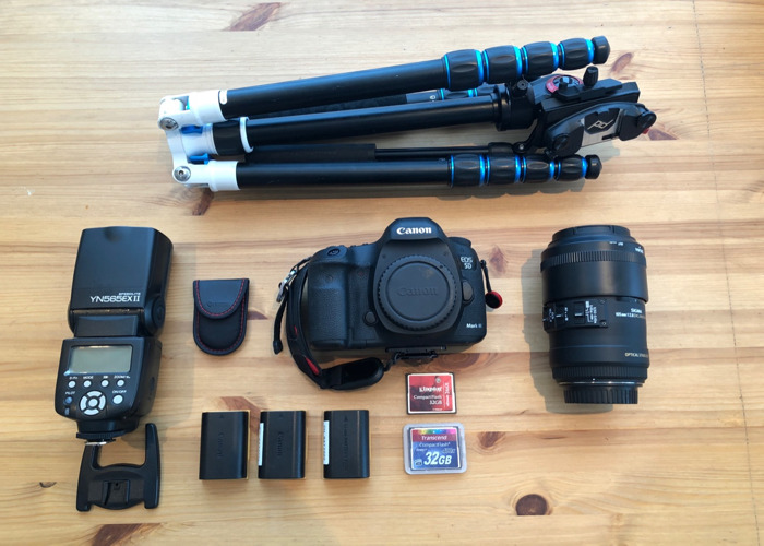 Canon 5D Mk III (Mark 3) DSLR + Sigma 105mm Macro Lens + Tripod with Manfrotto Video Head + Yongnuo Speedlite Flash + Spare Batteries and CF Cards // Macro Kit - 1