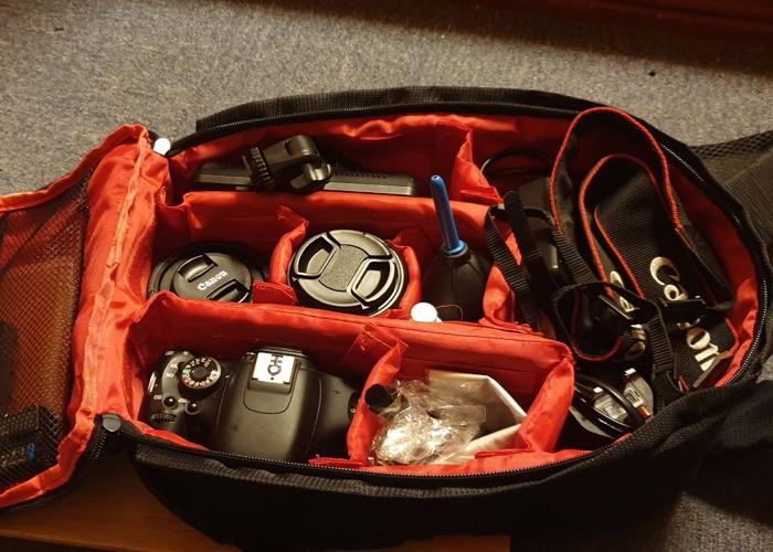 Canon 600d with kit lens, bag, tolifo 176 light, 50mm 1.8f.  - 1