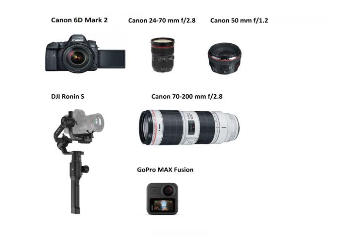 Canon 6d Mark 2, Canon 24 - 70, Canon 70-200, Canon 50 mm - 1