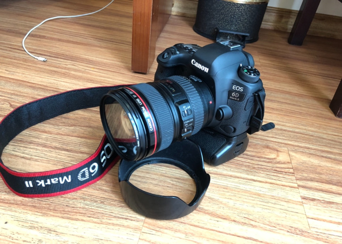 Canon 6D Mark ii with Canon 24-105mm lens with UV filter, battery grip, two  battery's and an SD card