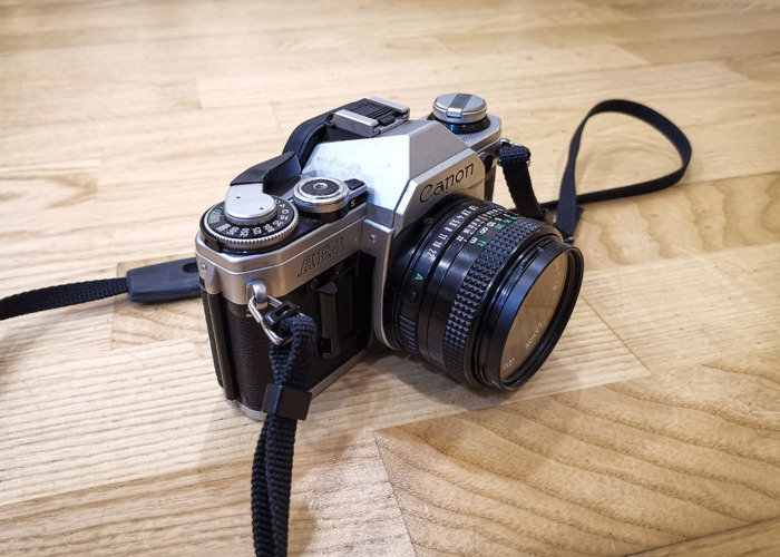 Canon AE 1 film camera with 50mm f1.8 lenses - 1