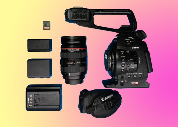 Canon C100 + 24-70mm f2.8 L Lens (MF ONLY) + 2 Batteries + 64gb SD card Video Camera Bundle (C200 & C300 Also Available) - 1