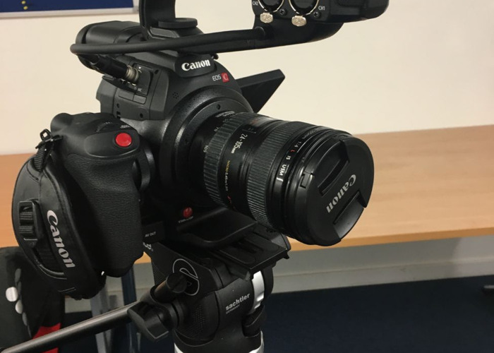 Rent Canon C100 Mark II - L-Series Lens + Sachtler Ace Tripod in New York