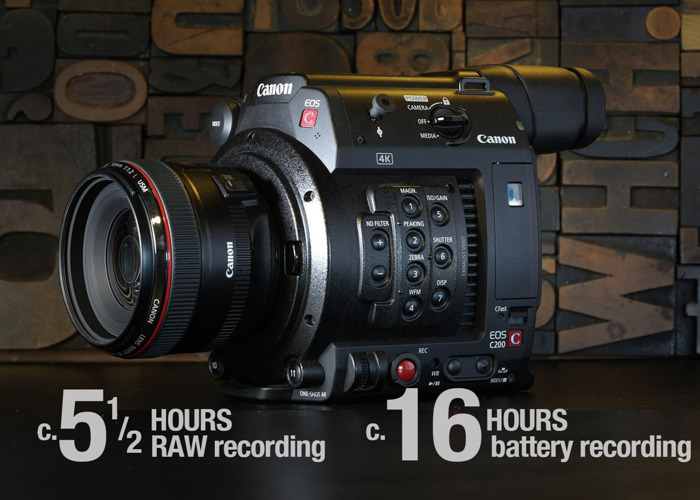 Rent Canon C200  2 x L series lenses  2 5tb = 5 5 hours Cfast Raw  Recording  Rode mic  5 batteries = 19 hours recording in London