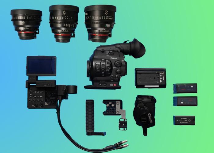 Canon C300 Package (3) + 3 Samyang Xeen Cinema Prime Lenses ( 16mm / 24mm / 50mm ) + Video Head Tripod +3 Battereies + 128GB Memory *Full Film Camera Bundle* - 1