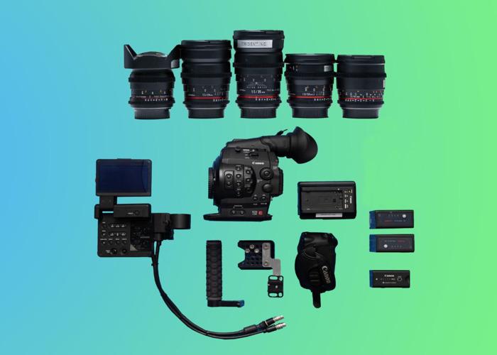 Canon C300 Package (3) + 5 Cine Prime Lenses ( 14mm / 24mm / 35mm / 50mm / 85mm ) + Video Head Tripod + 3 Battereies + 128GB Memory *Full Film Camera Bundle* - 1