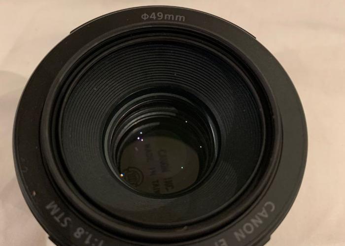 Canon EF 50mm f/1.8 STM Prime Lens with ES-68 Lens Hood & UV - 1