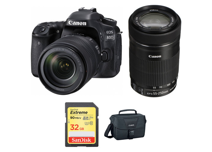 Canon EOS 80D DSLR Camera with 18-135mm and 55-250mm Lenses Kit - 1