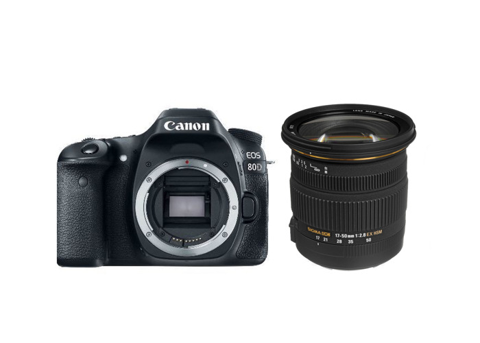 Rent Canon EOS 80D DSLR photo and video camera with Sigma 17-50mm lens in  London