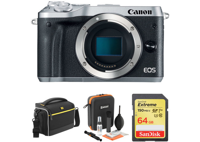Canon EOS M6 Mirrorless Digital Camera Body with Accessory Kit (Silver) - 1