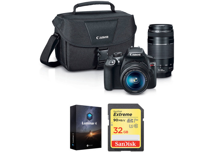 Canon EOS Rebel T6 DSLR Camera with 18-55mm and 75-300mm Lenses and Free Accessory Kit - 1
