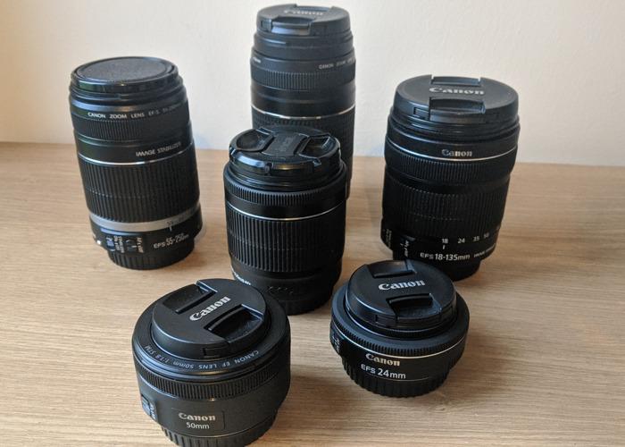 Canon lens collection - 2 primes & 4 telephoto lenses - 1