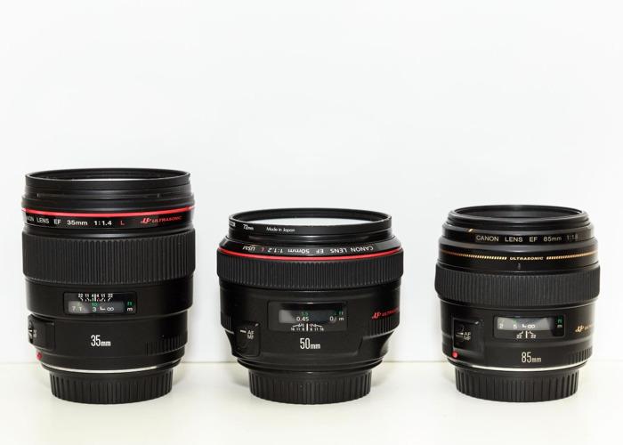 Canon 35mm, 50mm, 85mm Lens Kit - 1