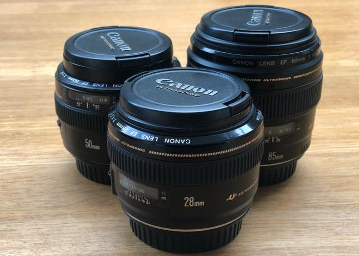 Canon Lens Set 28mm, 50mm & 85mm USM - 1
