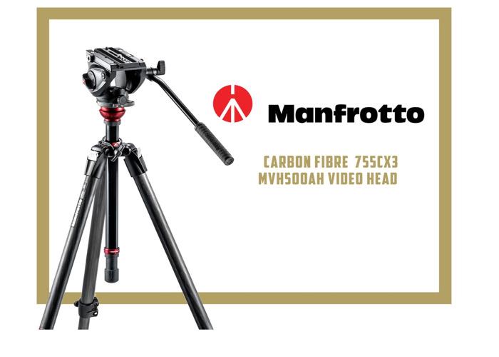 MANFROTTO 755CX3 Carbon Fibre Professional Video Tripod - 1