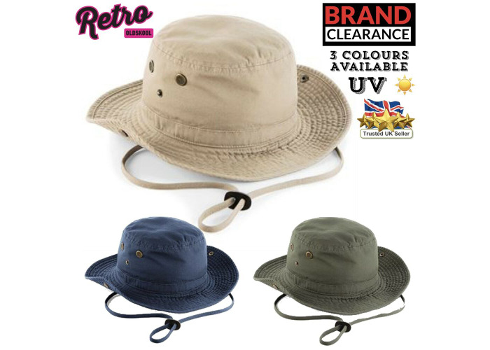 Cargo Bucket Safari Hat Outback UF50 Sun Olive Cream Black Mens Ladies - 1