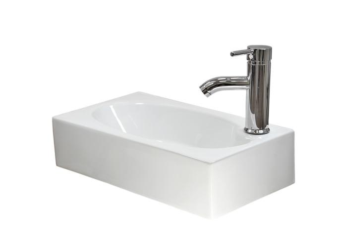 Caspian Ceramic Rectangle Wall Mount Bathroom Sink, Tap & Plug | 455mm(w)x258mm(d)x118mm(h)  - 1