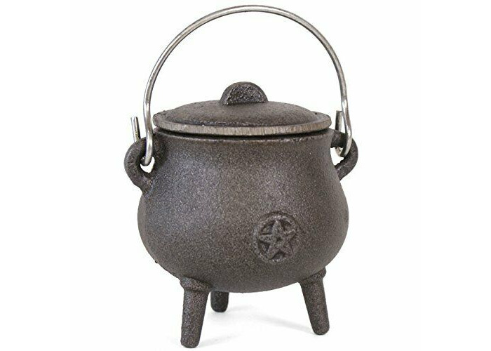 Cast Iron Cauldron With Handle - Pagan Wicca Altar Ritual Spells Gothic Witch - 1