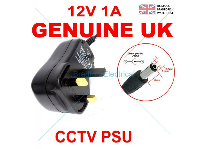 CCTV Camera 1A 1 Amp 12V PSU 2.1mm Plug UK Power Supply - 1