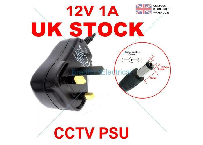 CCTV Power Supply Unit Adapter PSU 1 Amp 1000mah 2.1mm 12V DC 1A UK Plug - 1