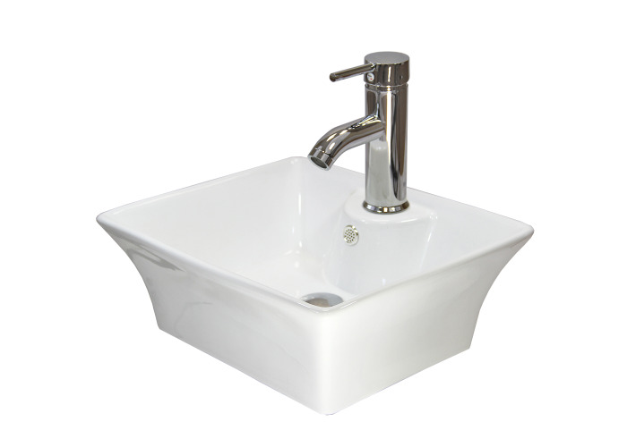 Ceramic Rectangle Countertop Bathroom Sink | 495mm(w)x420mm(d)x186mm(h) - 1