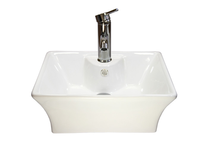 Ceramic Rectangle Countertop Bathroom Sink | 495mm(w)x420mm(d)x186mm(h) - 2